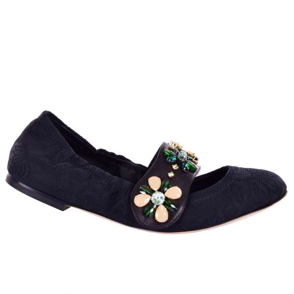 Elastic brocade ballet flats VALLY with crystals embellished strap by DOLCE & GABBANA Black Label
