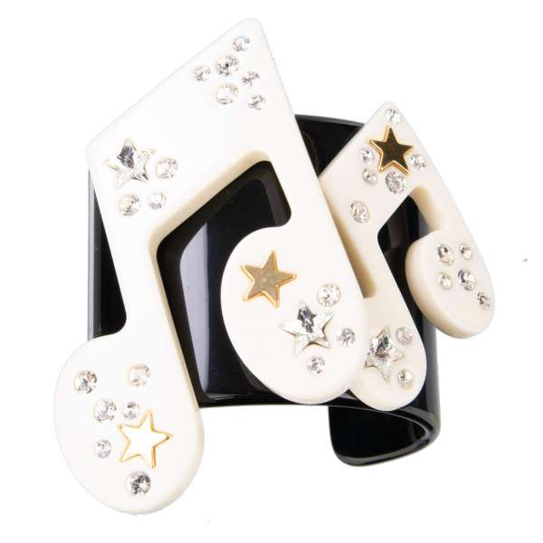 """Stelle"" Music Bracelet with Crystals and Star in Gold, White and Black by DOLCE & GABBANA"