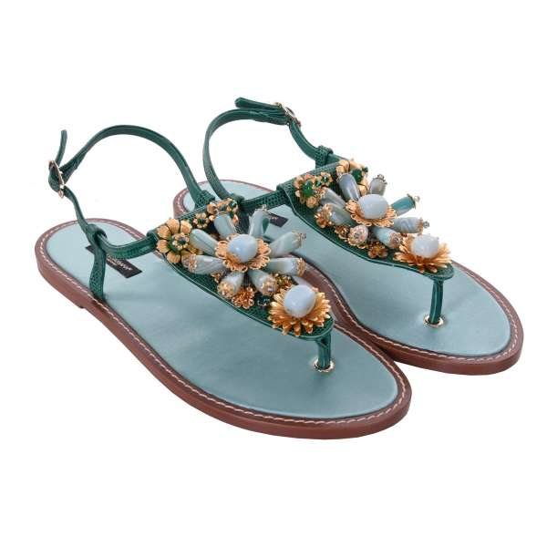 Flat lizard textured leather strap sandals INFRADITO with stones and brass jewelry by DOLCE & GABBANA Black Label