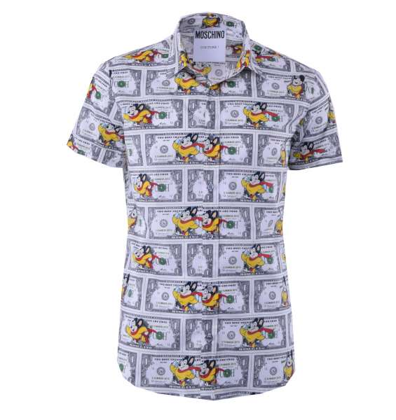 "Printed Short Sleeves Cotton Shirt ""Mighty Mouse"" by MOSCHINO COUTURE"