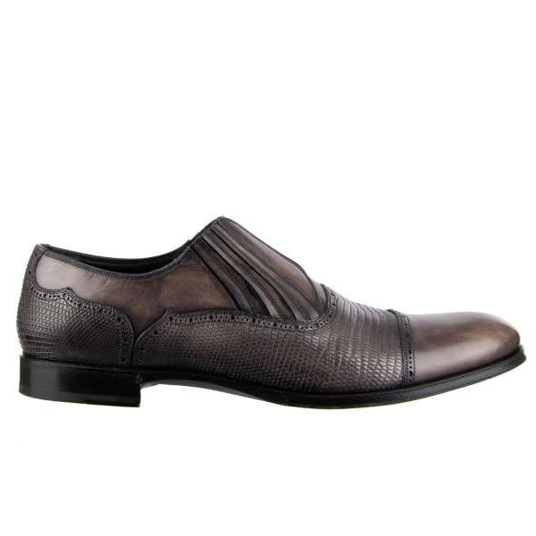 Formal lizard and calf leather derby shoes NAPOLI with elastic closure by DOLCE & GABBANA