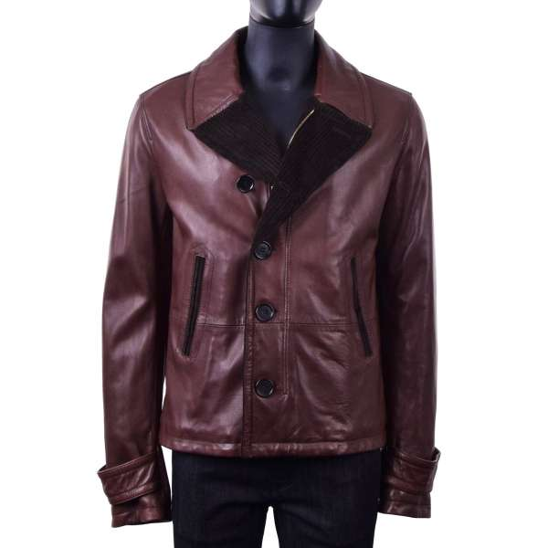 Nappa lamb leather jacket with a contrast tweed collar by DOLCE & GABBANA Black Line