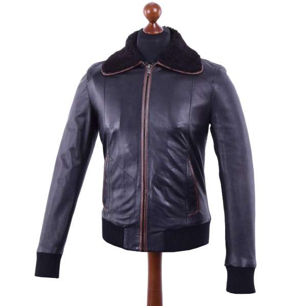 Nappa Leather Jacket with shearling collar and contrasting trim by DOLCE & GABBANA Black Line