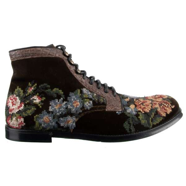 Ankle Boots SIRACUSA made of velvet and crocodile leather with floral embroidery by DOLCE & GABBANA