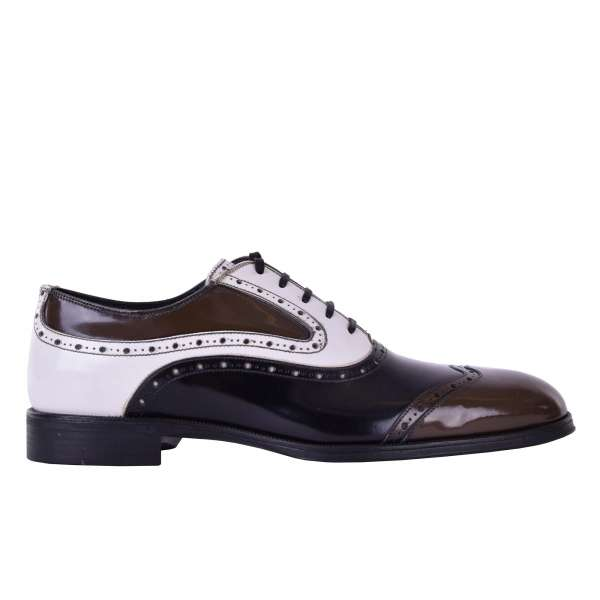 Multicolor calfskin brogues business shoes ROMA by DOLCE & GABBANA Black Label