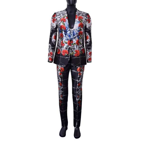 Unique 3-pieces silk torero style suit with carnation and saints print and rounded waistcoat by DOLCE & GABBANA Black Line
