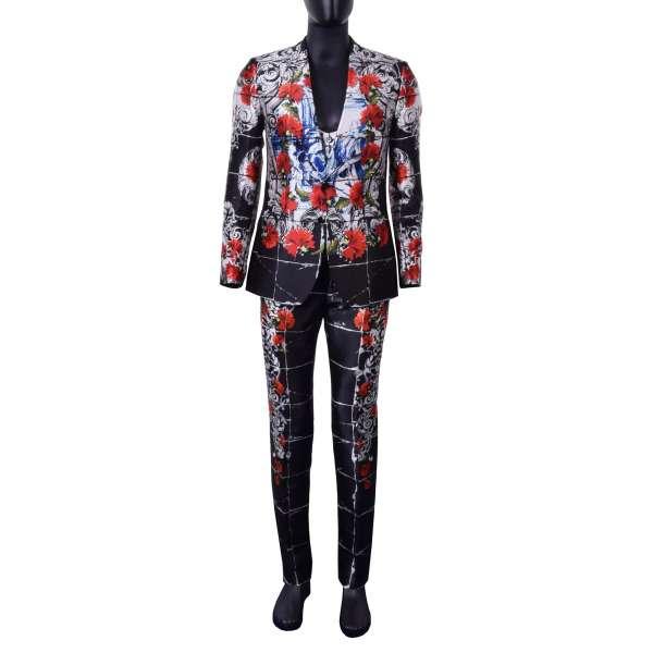 Einzigartiger 3-Teiliger Anzug aus Seide im Torero Stil mit Nelken und Heiligen Print und runder Weste von DOLCE & GABBANA Black Label