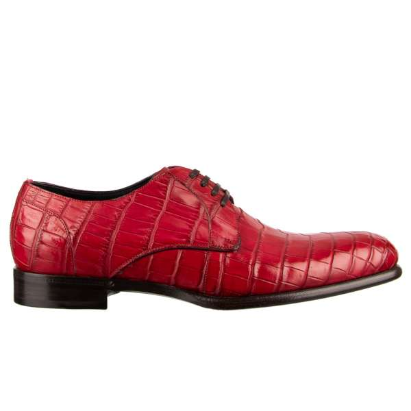 Very exclusive and rare, formal crocodile leather derby shoes SIENA in red by DOLCE & GABBANA