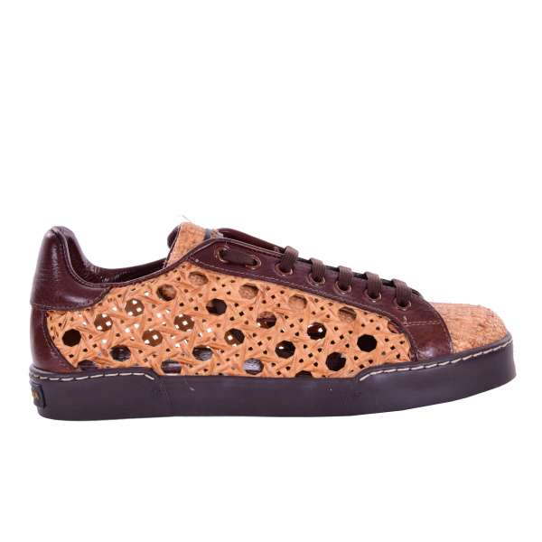 PORTOFINO Raffia Sneaker with rubber, straw effect painted net on the sides in brown by DOLCE & GABBANA Black Label