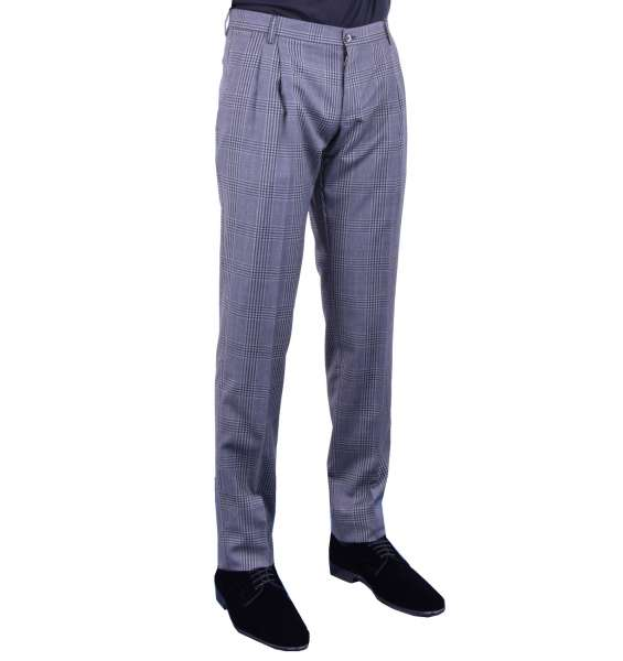 Classic Trousers with check pattern made of virgin wool by DOLCE & GABBANA Black Line