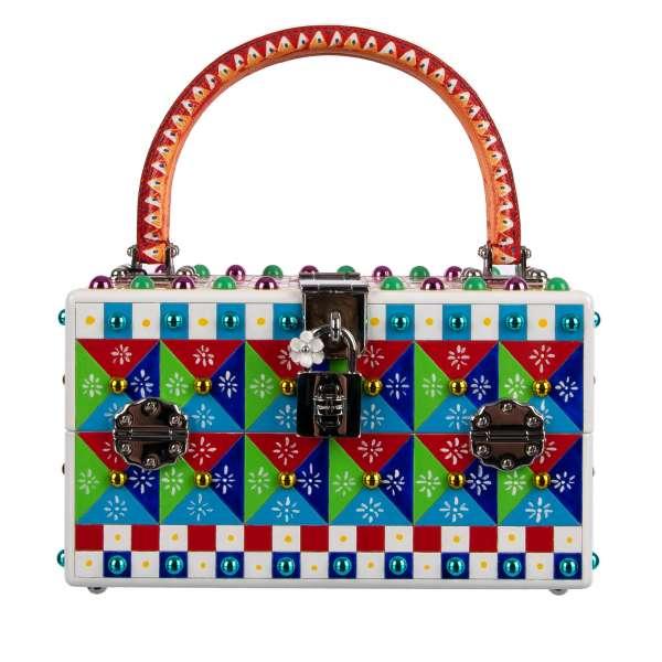 UNIKAT: Box Tasche / Handtasche DOLCE BOX aus Holz mit handbemaltem Carretto Siciliano Muster, mehrfarbigen Nieten und zwei Trägern aus Leder von DOLCE & GABBANA Black Label