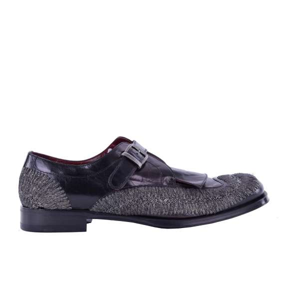 Embroidered leather derby shoes / slipper with buckle SASSARI by DOLCE & GABBANA Black Label