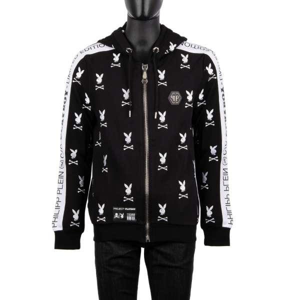 Hoodie Jacke mit All-Over Logo Stickerei, besticktem PLAYBOY Schriftzug auf der Rückseite und mit Playboy Plein Logo Schriftzug an Ärmeln von PHILIPP PLEIN x PLAYBOY