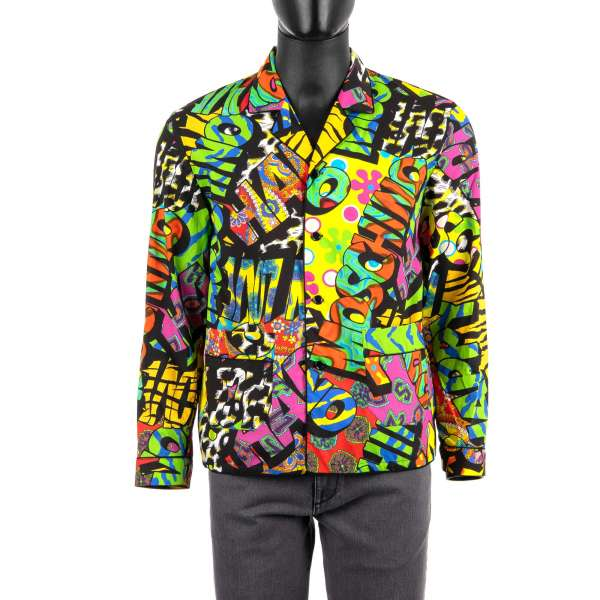 Cotton Hawaii Shirt with multicolor logo and graffiti print and pockets by MOSCHINO COUTURE