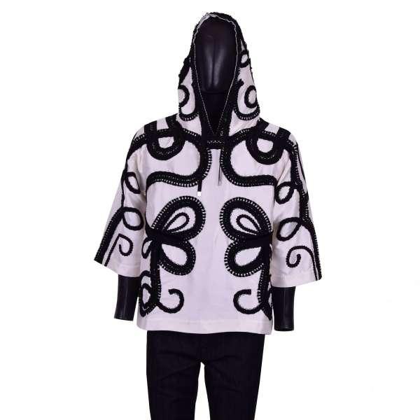 Embroidered 3/4-sleeves spanisch torero silk hoody / sweatshirt by DOLCE & GABBANA Black Line