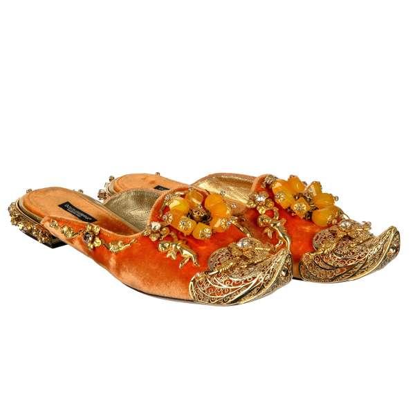 Barock Pantoffeln / Loafer JASMINE aus Seidemischung Samt mit Verzierungen aus Metall mit Kristallen, Engelfigurel und Blümen in Orange und Gold von DOLCE & GABBANA Black Label