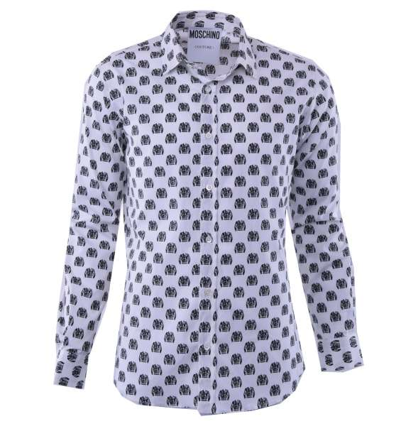 Printed cotton shirt with biker jackets by MOSCHINO COUTURE