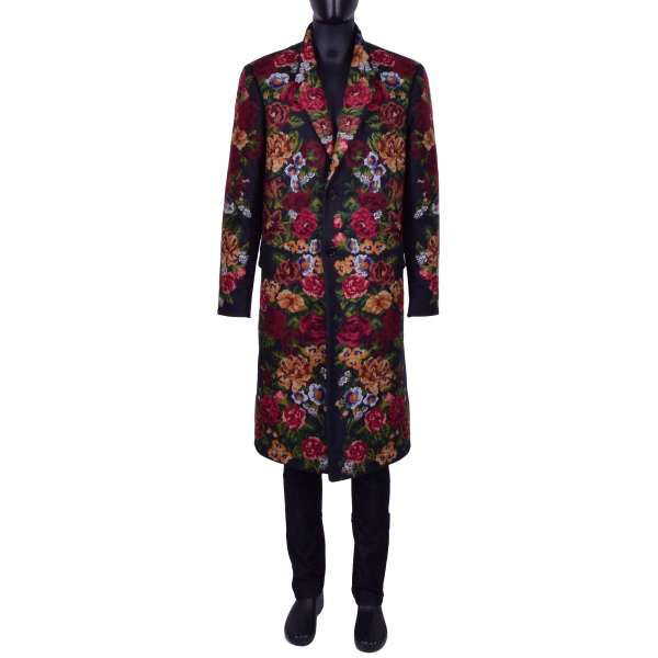 Baroque Floral Embroidery Coat by DOLCE & GABBANA Black Line