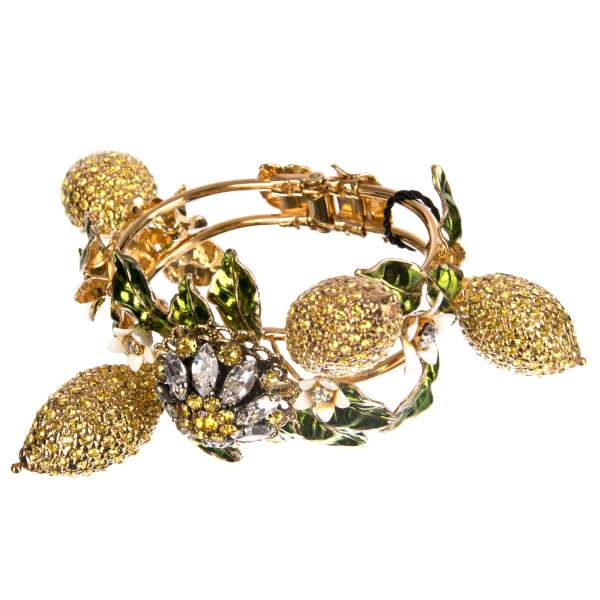 Daisy Lemon Bracelet with lemons, flowers, coin, crystals and magnetic fastening in gold and yellow by DOLCE & GABBANA