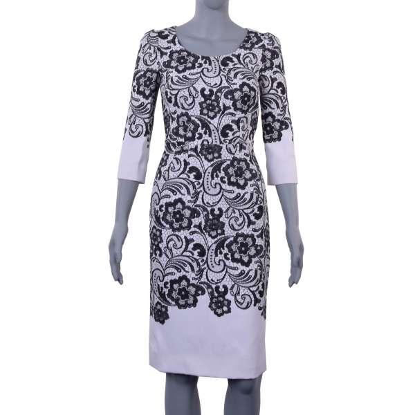 Kleid aus Viskose mit schwarzem Spitze-Blumen-Muster von DOLCE & GABBANA Black Label
