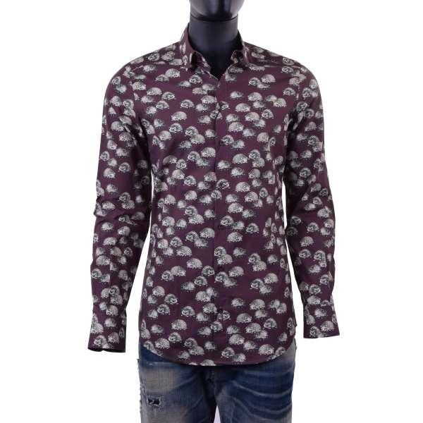 Hedgehog printed shirt with short collar by DOLCE & GABBANA Black Label - GOLD Line
