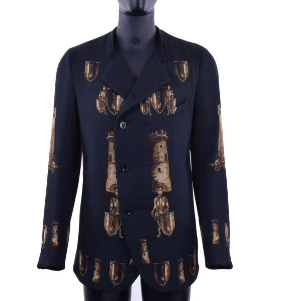 Single breasted stuffed tower & armour printed short coat / blazer by DOLCE & GABBANA Black Label