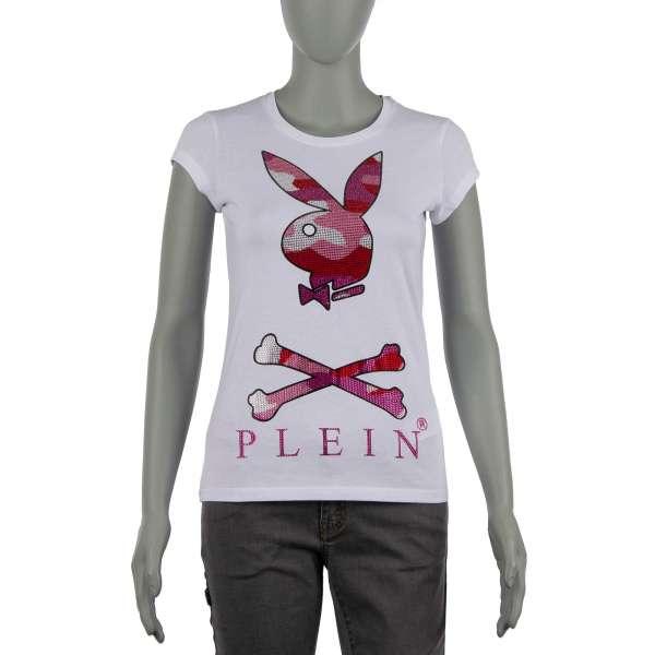 T-Shirt für Damen mit Playboy Plein Bunny Logo und PLEIN Schriftzug aus Strass vorne und PLAYBOY X PLEIN Schriftzug hinten von PHILIPP PLEIN X PLAYBOY
