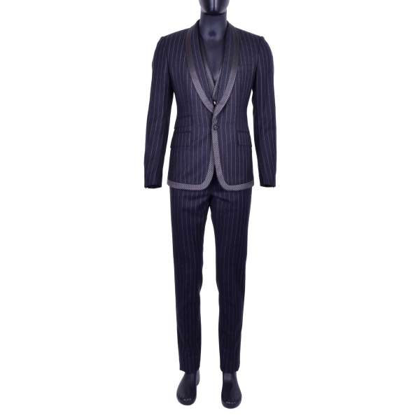 Striped 3-pieces virgin wool suit with round contrast polka dot reverse by DOLCE & GABBANA Black Line