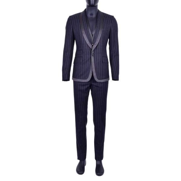 3-Teiliger gestreifter Anzug aus Schurwolle mit rundem Kontrast Revers mit Polka Dot Muster von DOLCE & GABBANA Black Label