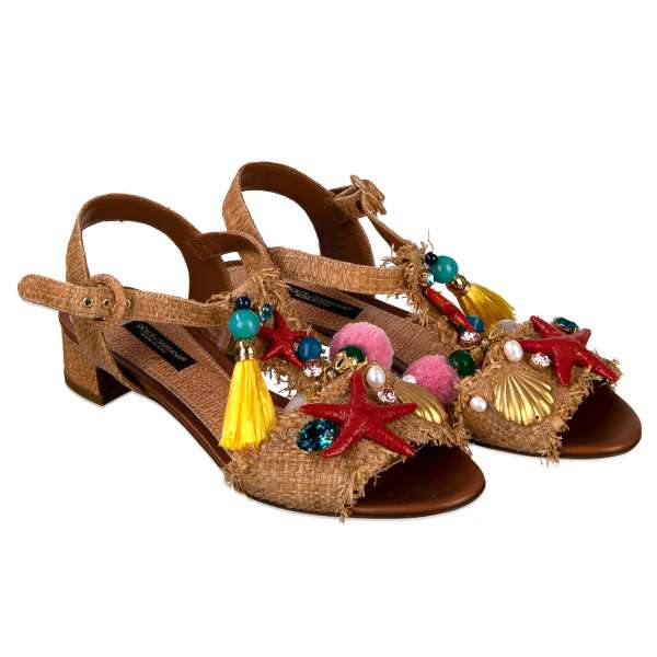 KEIRA straw and leather Sandals / Pumps with crystal, stars, shells, pearls, pom pom and tassel embelishments in beige by DOLCE & GABBANA Black Label