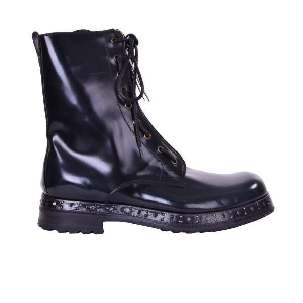 Military Style Shiny Boots SAN PIETRO in Black with Green lightening and lace and zip fastening by DOLCE & GABBANA Black Label