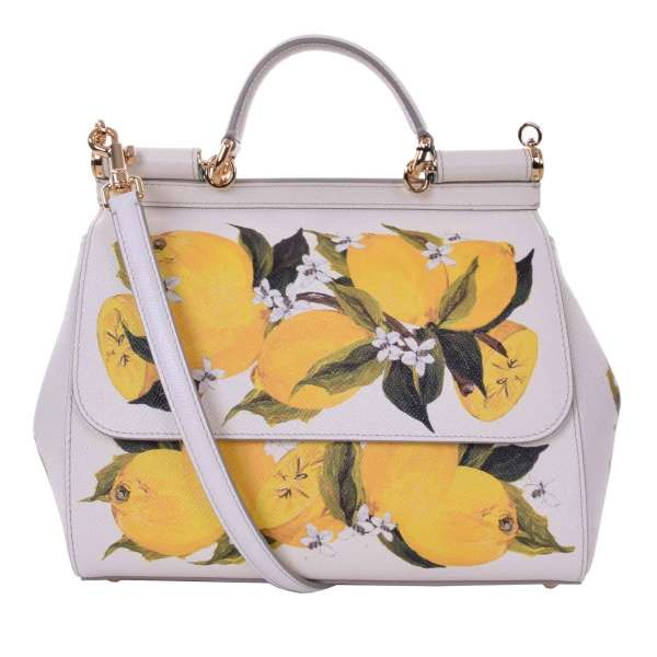 Lemon printed dauphine leather Tote / Shoulder Bag SICILY Medium with mirror by DOLCE & GABBANA
