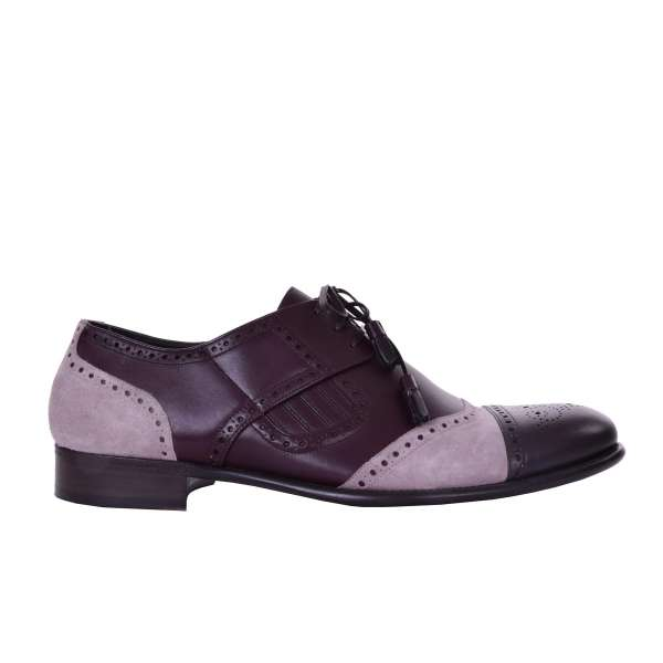 Patent leather and Suede derby shoes NAPOLI in Brown and Rose by DOLCE & GABBANA Black Label