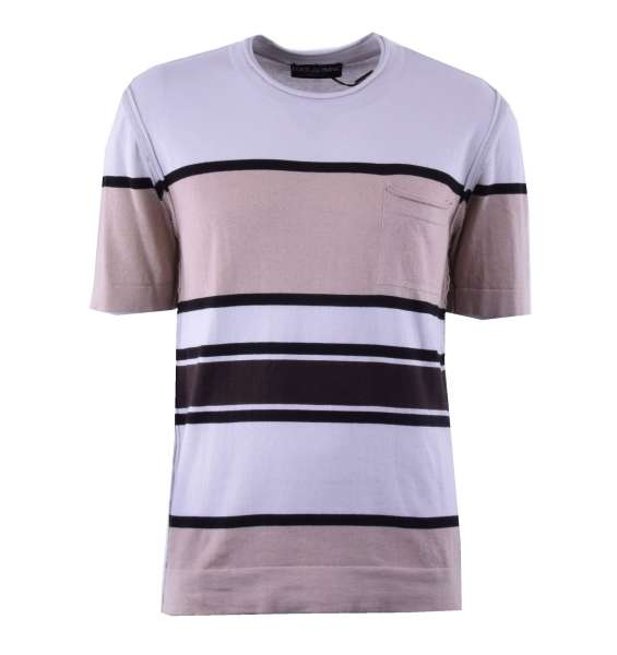 Knitted Cashmere / Cotton T-Shirt with multicolored stripes by DOLCE & GABBANA Black Label