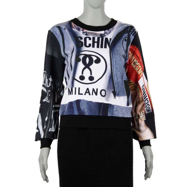 Sweater / Sweatshirt made of cotton with Moschino Milano Logo and Photo prints by MOSCHINO COUTURE
