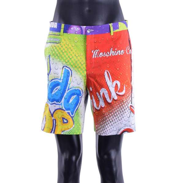 "Cotton Shorts with all-over multicolored ""Soda Pop"" prints by MOSCHINO COUTURE"