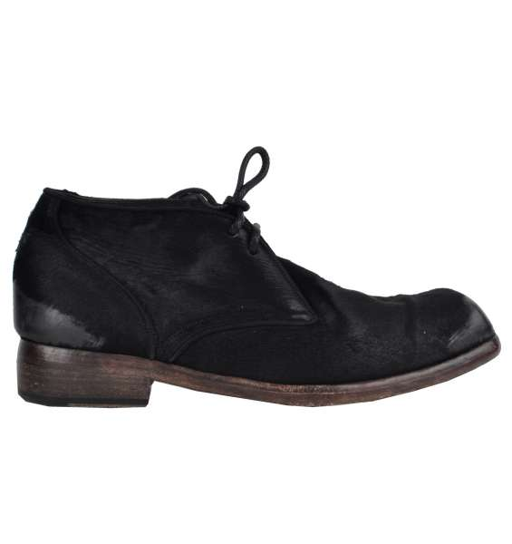 Destroyed design fur and leather ankle boots by DOLCE & GABBANA Black Label