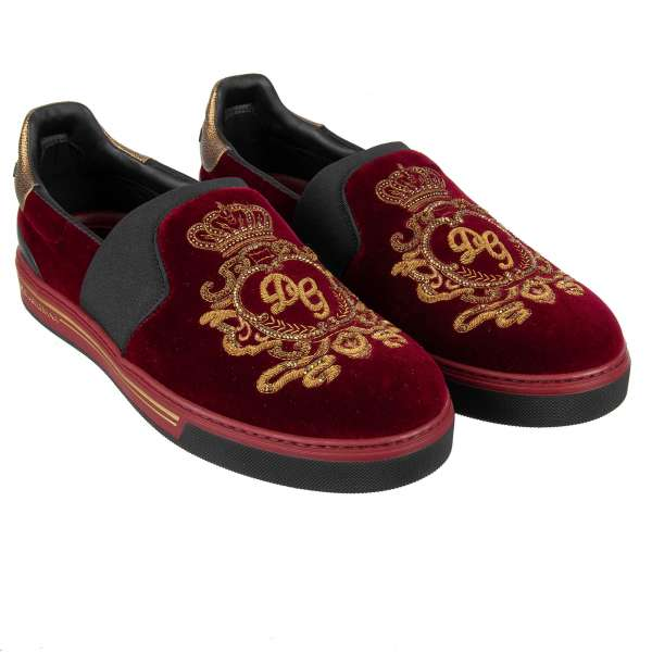 Velvet Slip-On Sneaker ROMA with crown and DG logo coat of arms gold embroidery by DOLCE & GABBANA