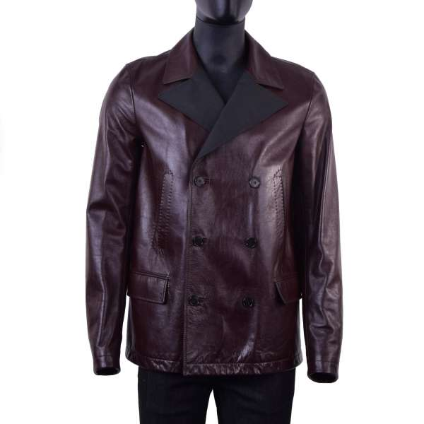 Short, double-breasted taurus leather coat with a wide contrast collar by DOLCE & GABBANA Black Line