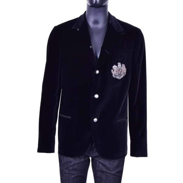 Velvet jacket / blazer with copper hand-embroidered coat of arms and logo by DOLCE & GABBANA Black Label