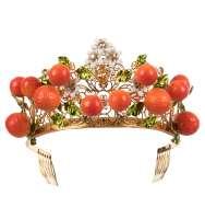 Orange Flower Crystals Tiara Crown Gold