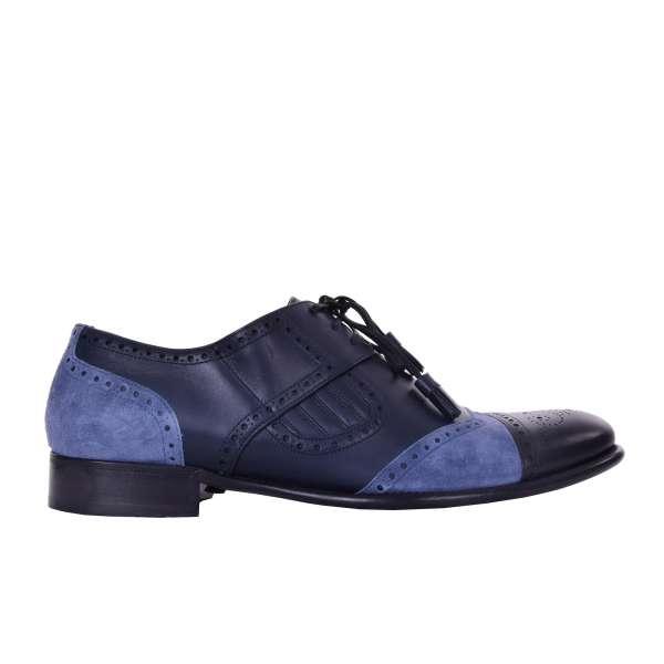 Derby Schuhe NAPOLI aus Glattleder und Wildleder in Blau und Schwarz von DOLCE & GABBANA Black Label