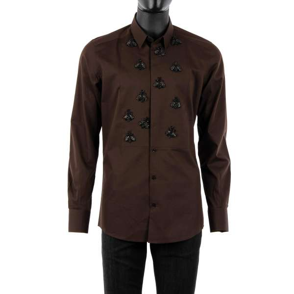 Tuxedo Shirt made of silk and cotton with short collar, hidden button closure and hand embroidered bees made of crystals and glass by DOLCE & GABBANA - GOLD Line