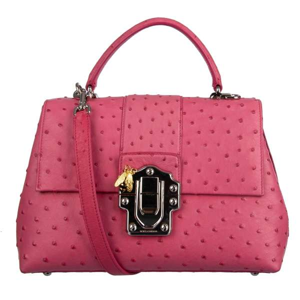 Large ostrich leather bag / shoulder bag MISS LUCIA with logo and decorative bee brooch by DOLCE & GABBANA Black Label