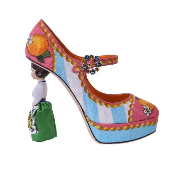 Extravagant Mary Jane Plateau Pumps COCO made of brocade with Sicilian Orange print and wooden doll heel by DOLCE & GABBANA Black Label