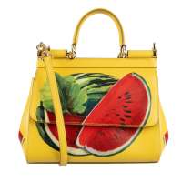 Tote Bag SICILY Small with Watermelon Print Yellow Red