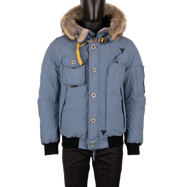 Micro Ottoman Bomber Jacket TRIBE with a down filling, detachable real fur trim, hoody and many pockets in Storm Blue