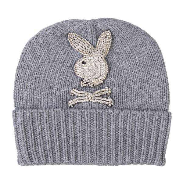 Wool and Cashmere blend knit beanie hat with a large crystals Bunny Skull logo and 'Playboy X Plein' leather logo plaque at the back by PHILIPP PLEIN x PLAYBOY