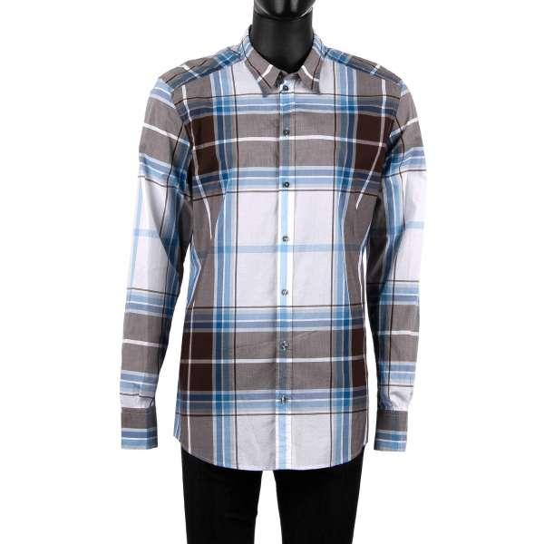 Karriertes Hemd mit kurzem Kragen in Weiß, Blau und Braun von DOLCE & GABBANA - GOLD Line