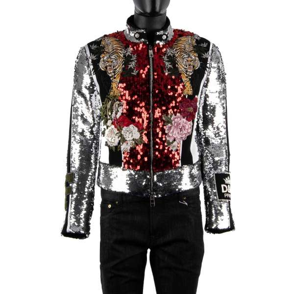 Exceptional sequins embroidered jacket with Asian Tiger, Flowers, Crown and heart embroidery and D&G PRINCE applications by DOLCE & GABBANA